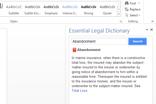 A legal add-in for Microsoft Word.
